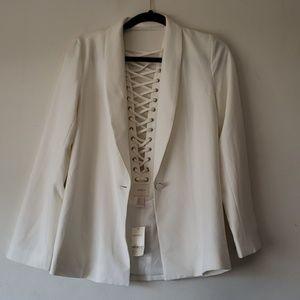 Forever 21 Ivory Lace up Back Jacket